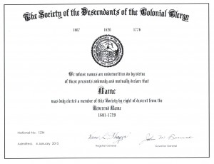 Colonial Clergy Certificate